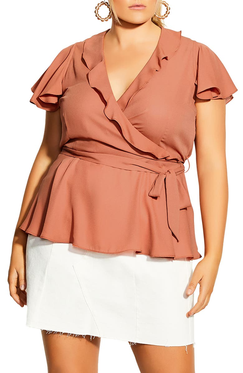 CITY CHIC Ruffle Detail Wrap Front Top, Main, color, SWEETCLAY