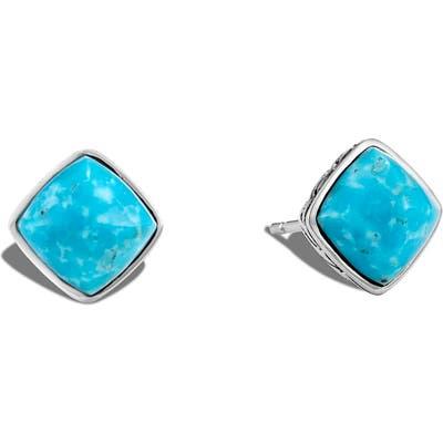 John Hardy Classic Chain Sugarloaf Turquoise Stud Earrings