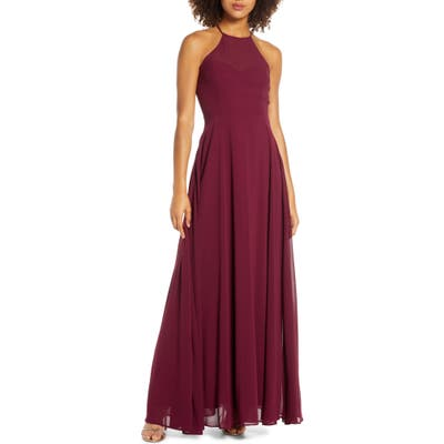 Lulus Night Of Romance Halter Neck Chiffon Gown