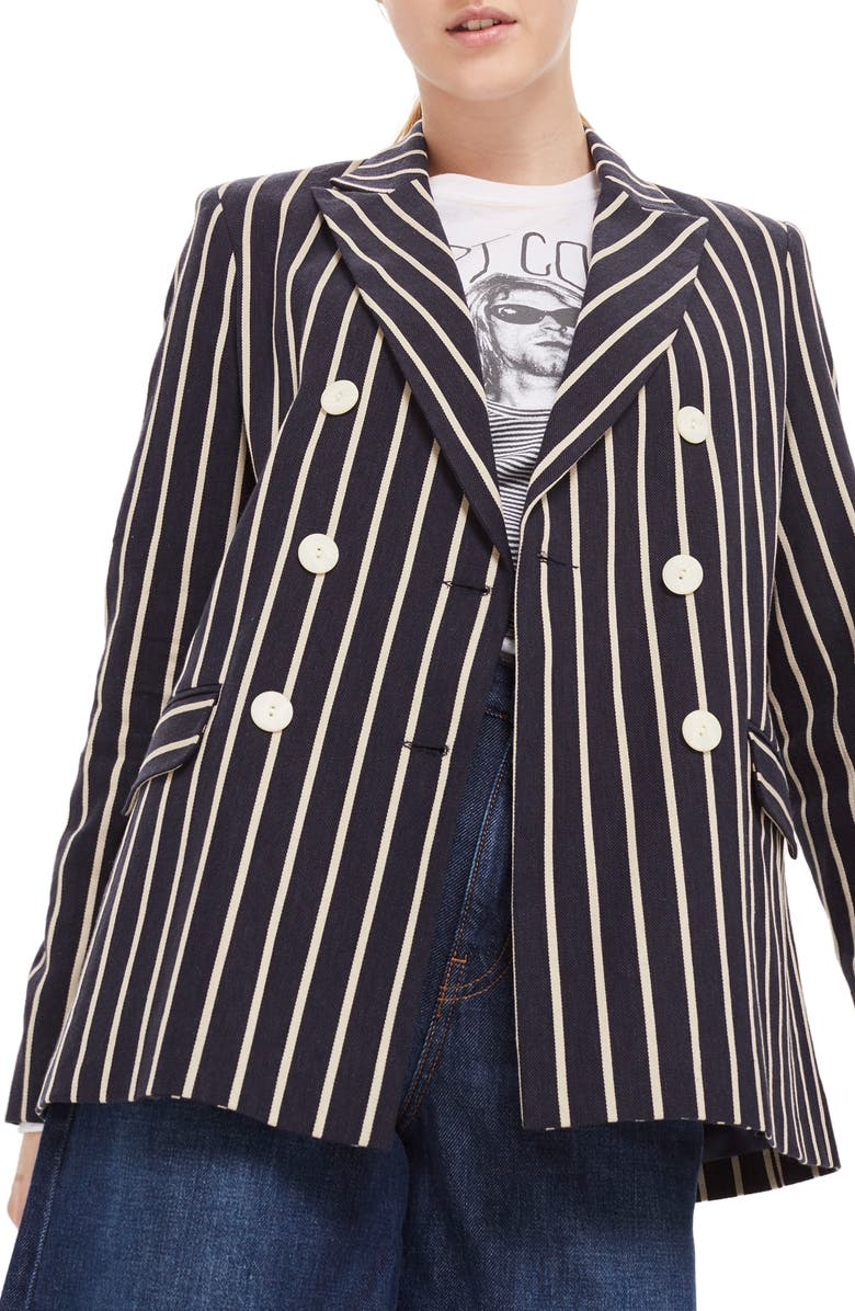 TOPSHOP Stripe Double Breasted Jacket, Main, color, 411