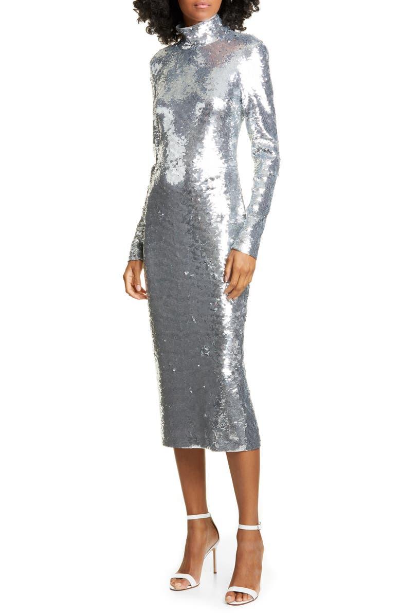 VERONICA BEARD Nila Sequin Long Sleeve Midi Dress, Main, color, SILVER