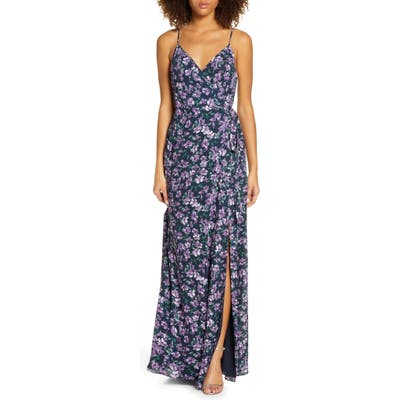 Wayf The Angelina Floral Print Slit Wrap Gown, Purple