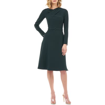 Kay Unger Lennox Long Sleeve Stretch Crepe Cocktail Dress, Green