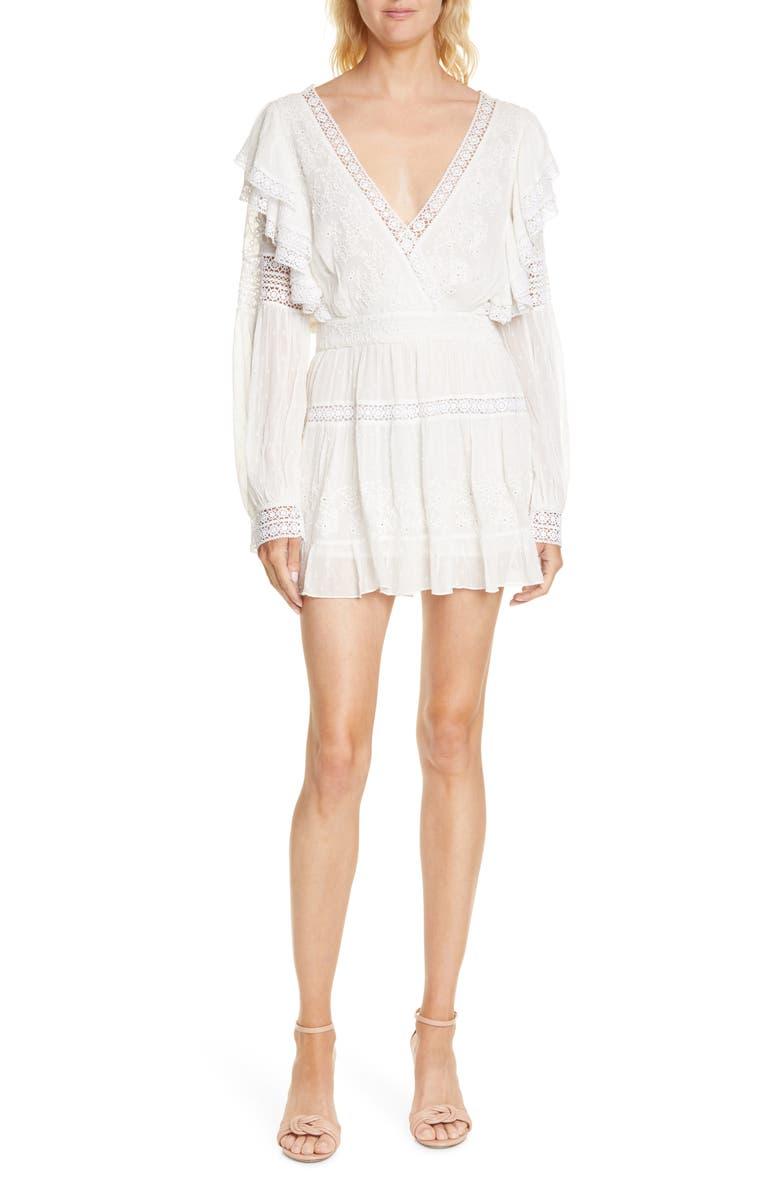LOVESHACKFANCY Simonna Long Sleeve Minidress, Main, color, ANTIQUE WHITE