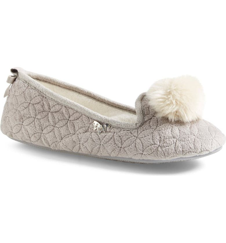 PRETTY YOU LONDON 'Opera' Quilted Faux Fur Pompom Slipper, Main, color, 020