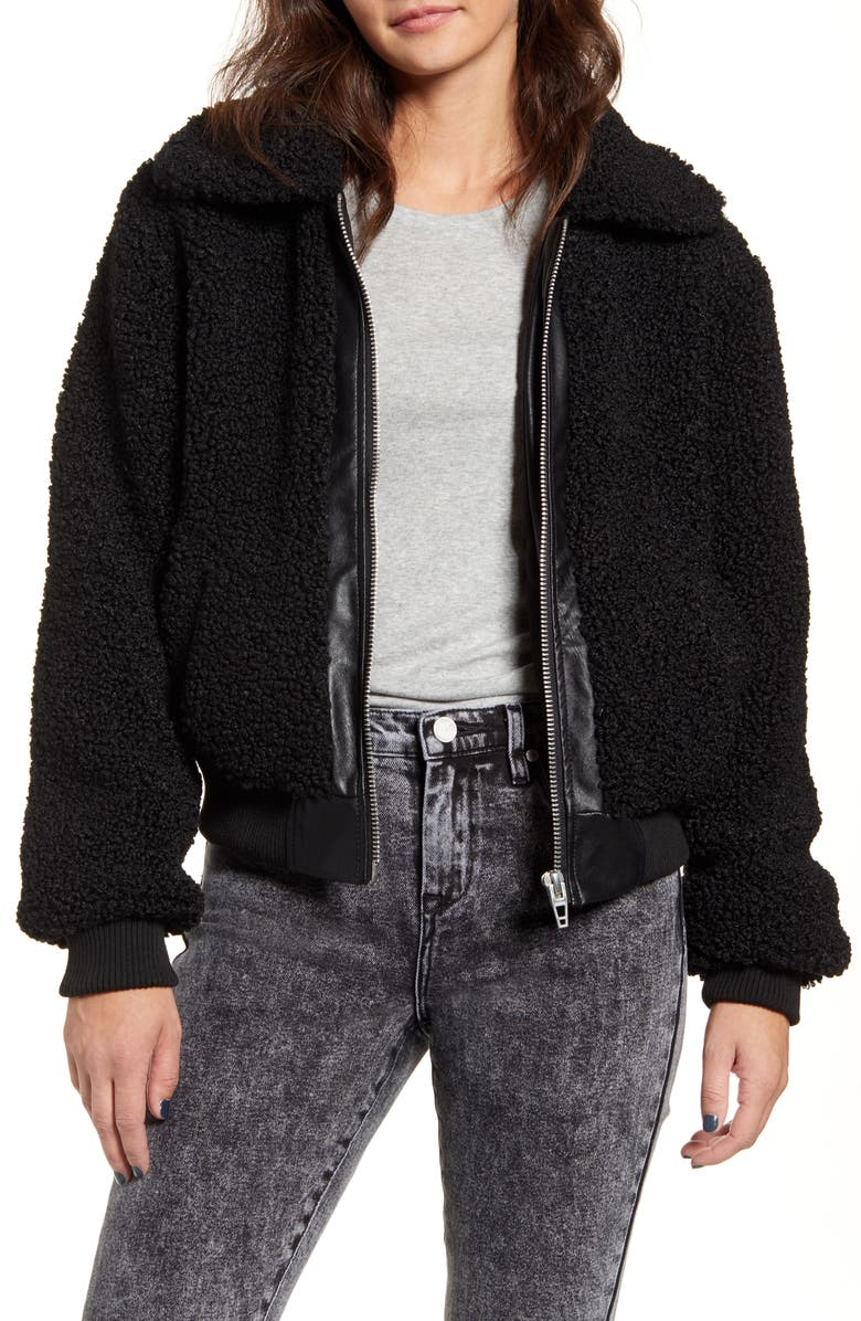 BLANKNYC Faux Shearling Bomber Jacket, Main, color, 001