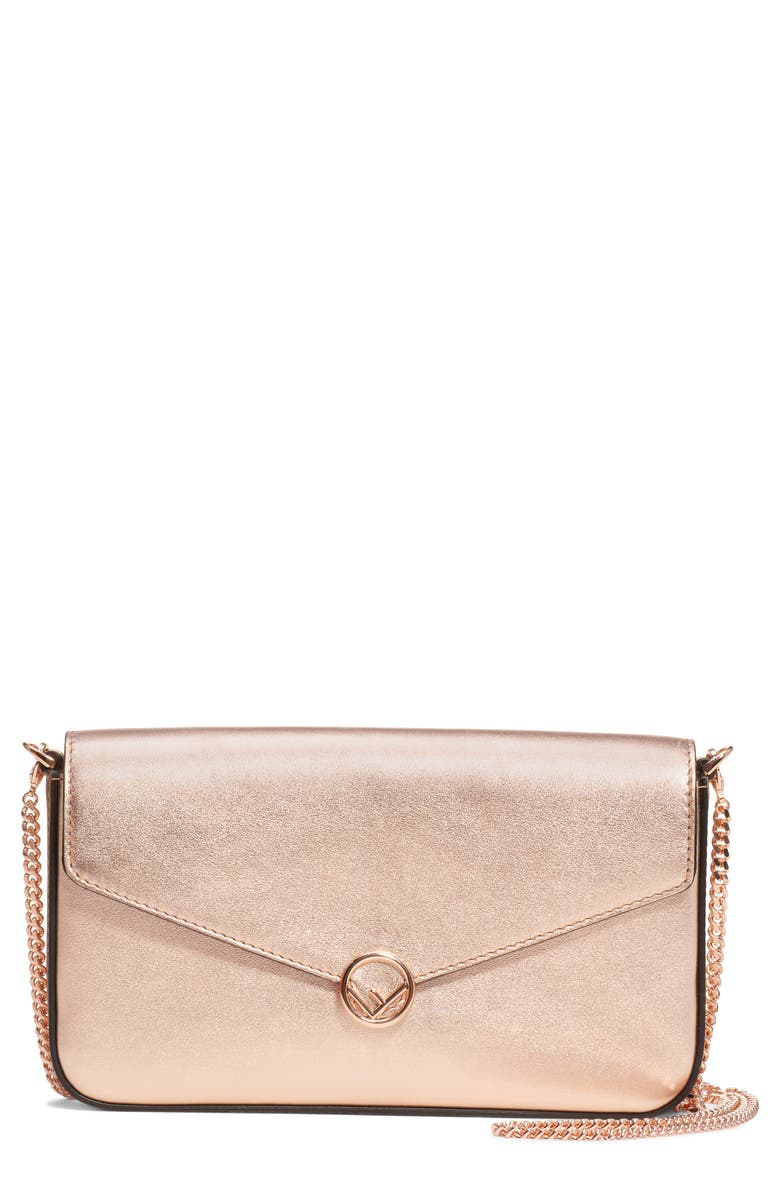 FENDI Metallic Leather Wallet on a Chain, Main, color, COPPER/ GOLD PINK