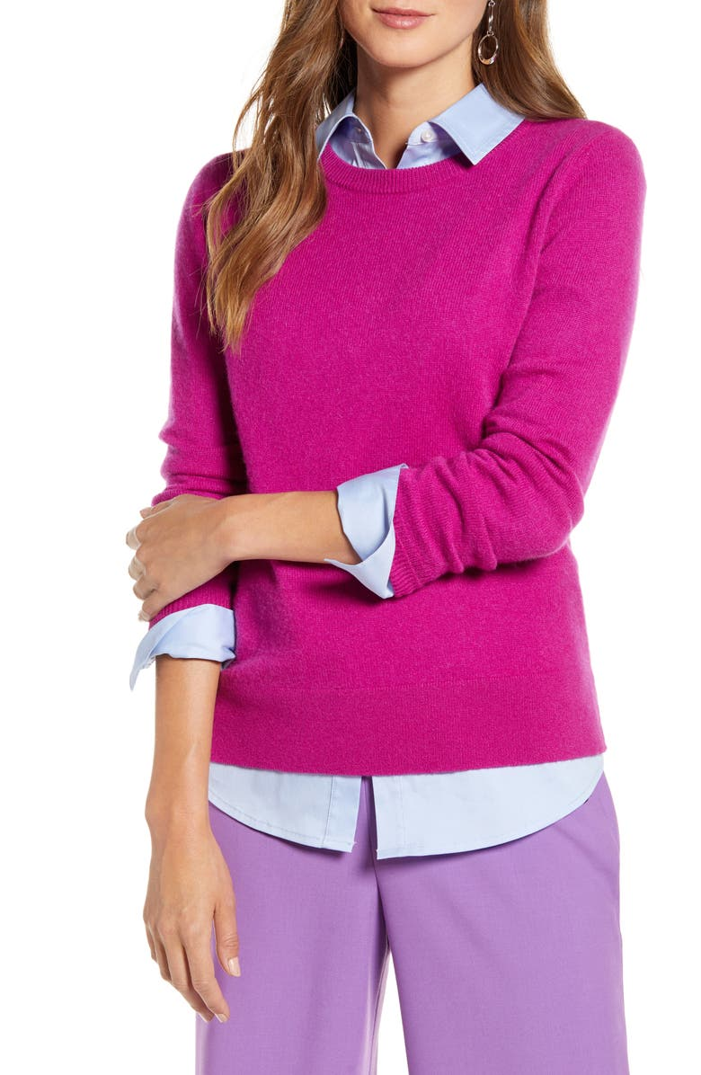 HALOGEN<SUP>®</SUP> Crewneck Cashmere Sweater, Main, color, FUCHSIA