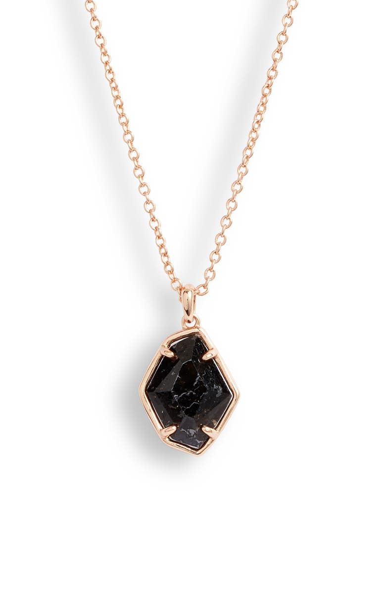 KENDRA SCOTT Ellington Pendant Necklace, Main, color, ROSE GOLD/ BLACK GRANITE