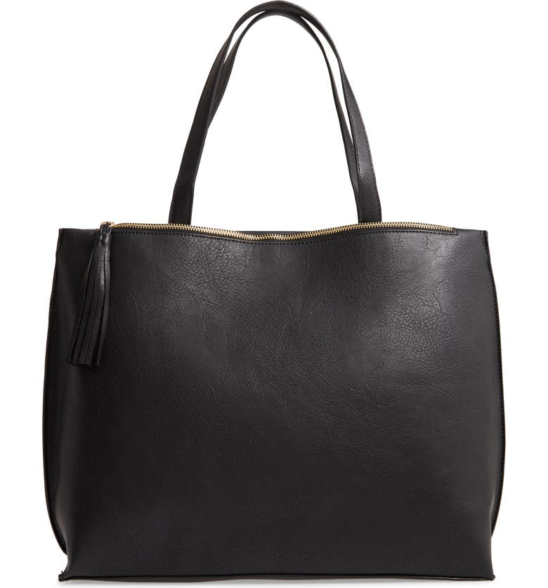 SOLE SOCIETY Faux Leather Tote, Main, color, BLACK