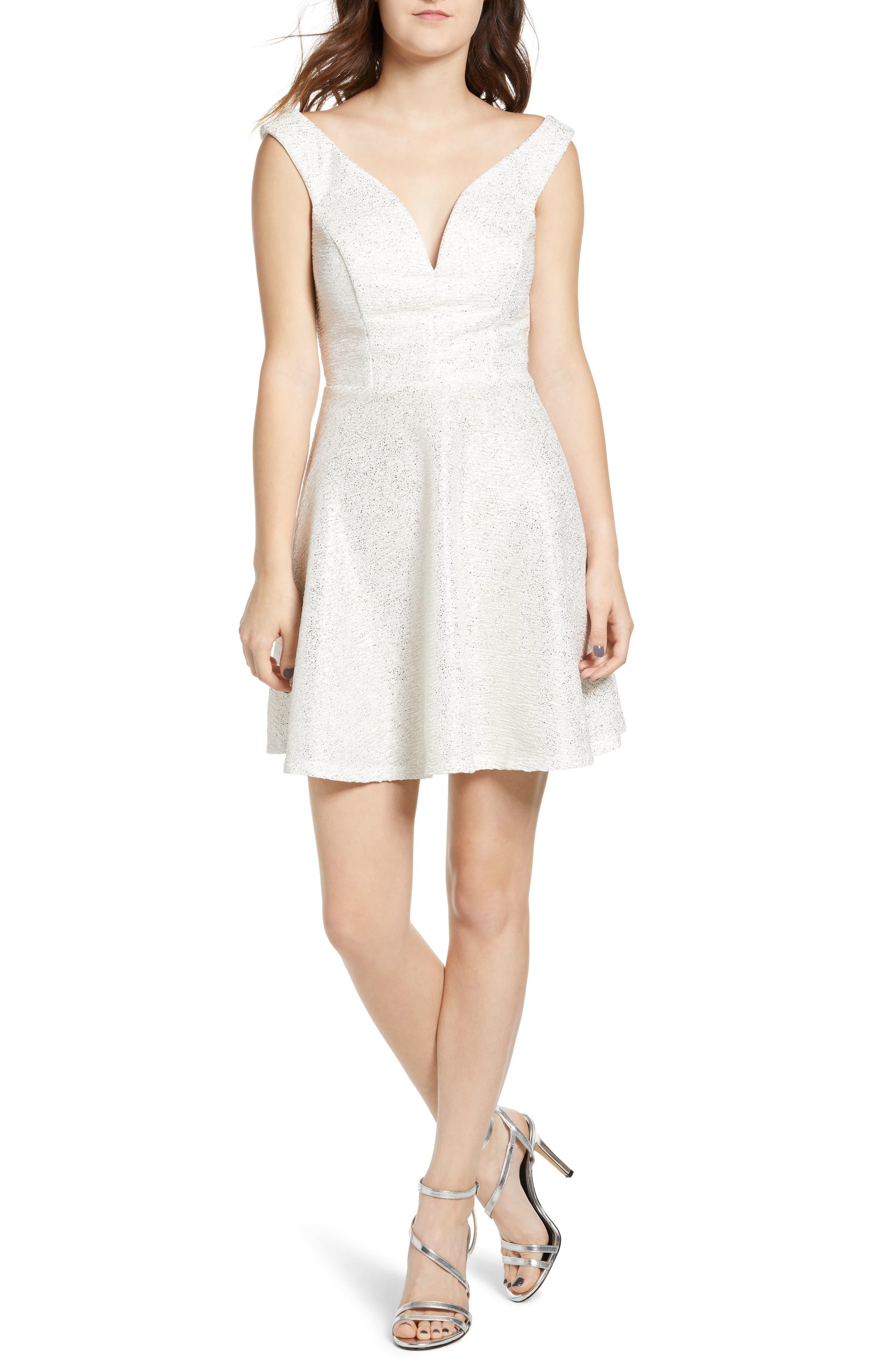Speechless Glitter Fit & Flare Dress, Ivory