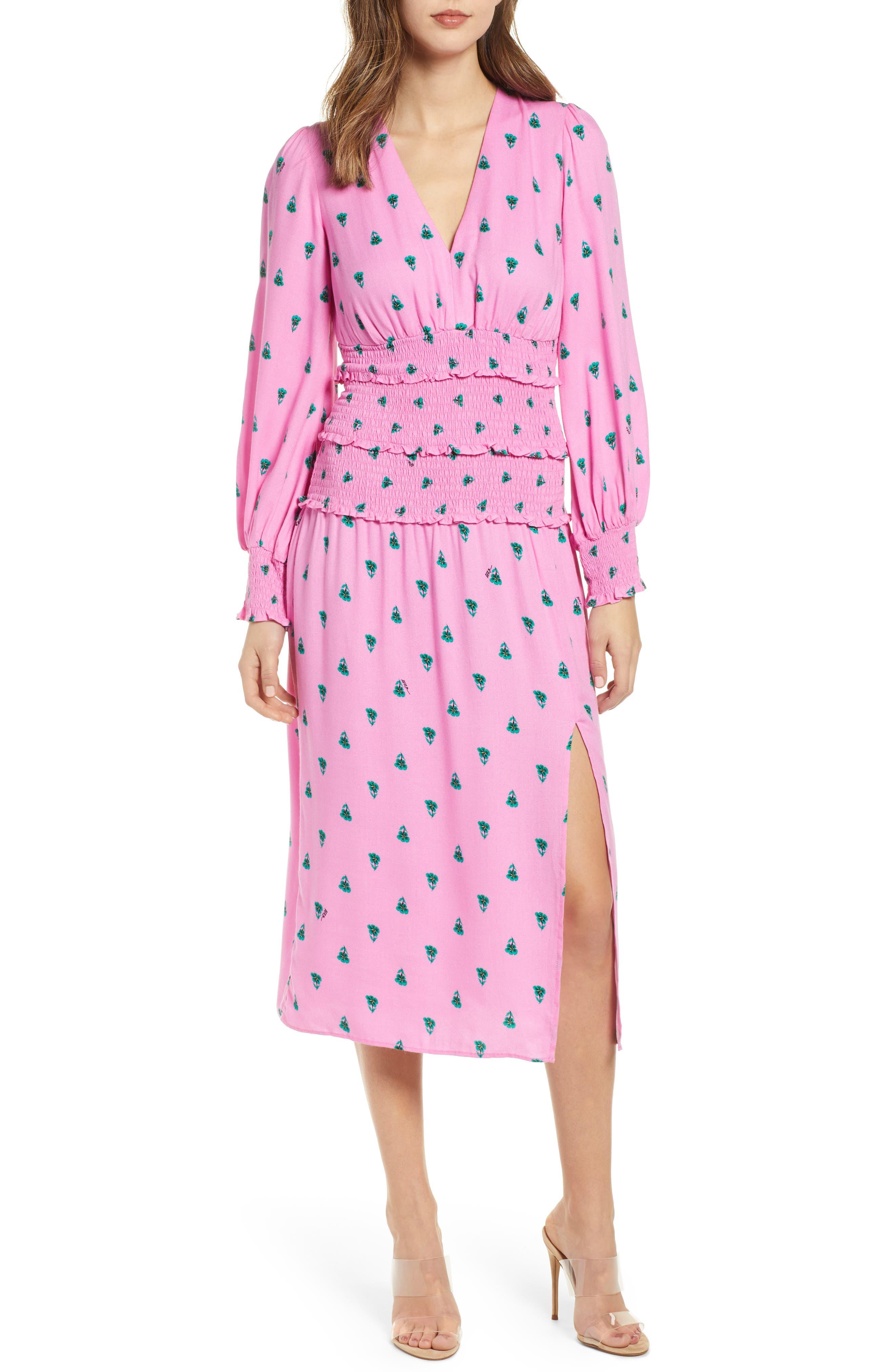 Afrm Hazel Print Smocked Crepe Dress, Pink