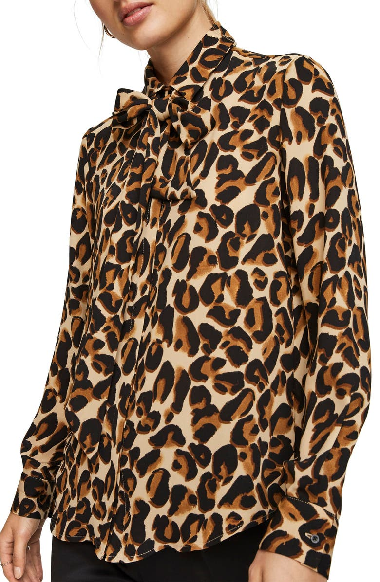 SCOTCH & SODA Leopard Print Woven Shirt, Main, color, 200
