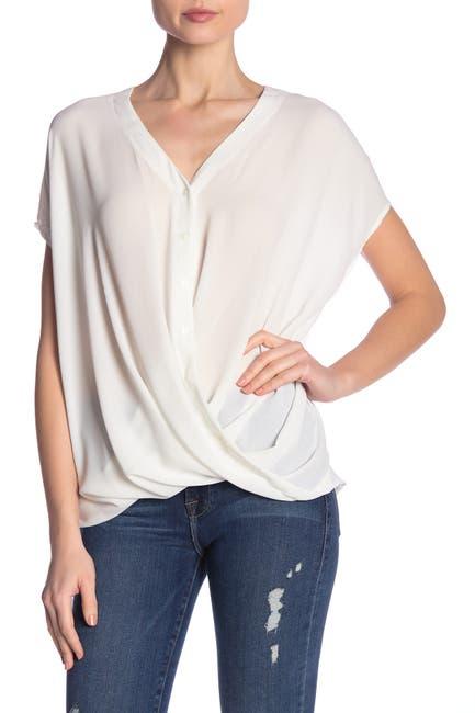 Image of Lush Short Sleeve Draped Blouse