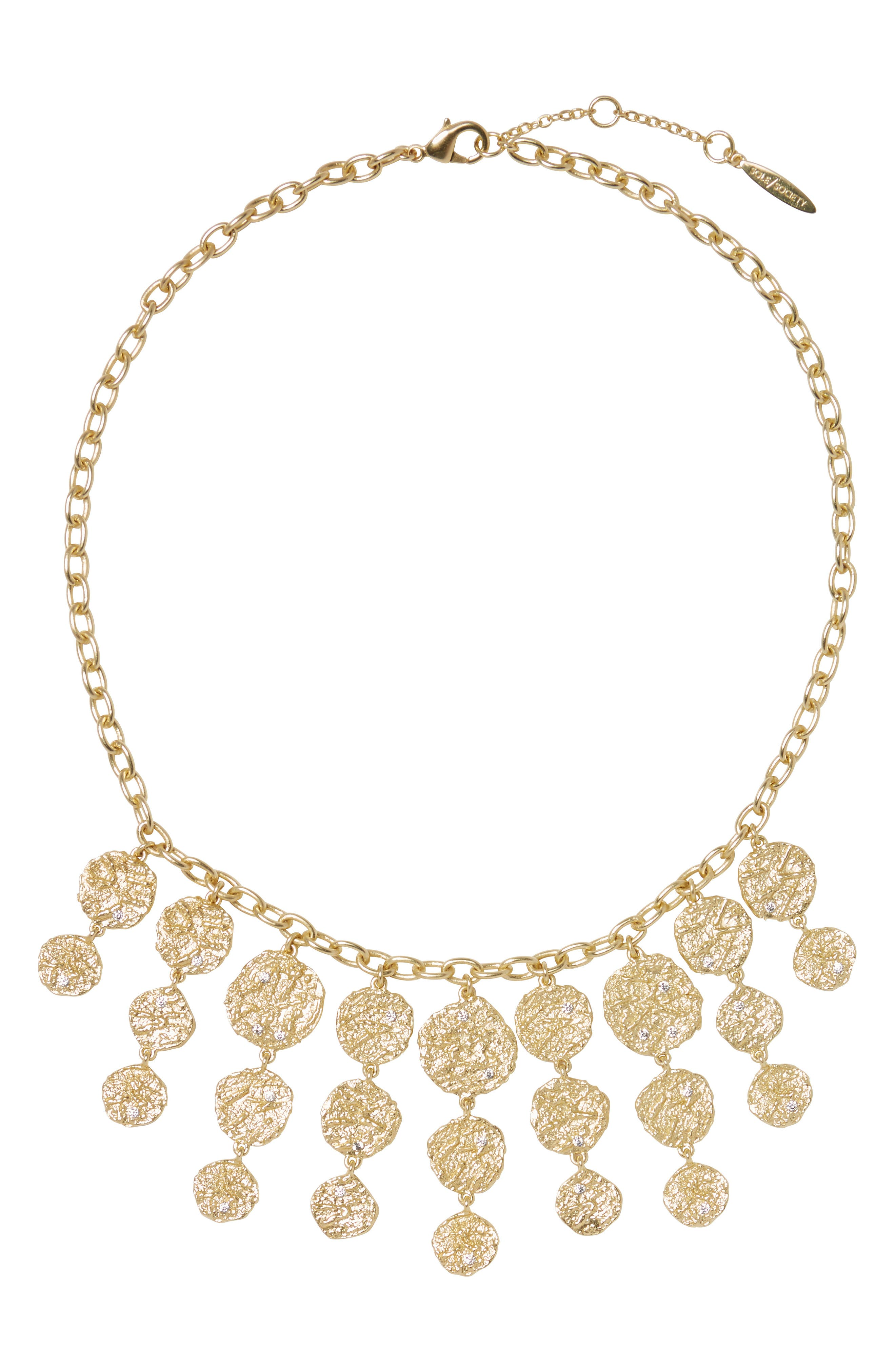 Sole Society Dramatic Textured Disc Bib Necklace