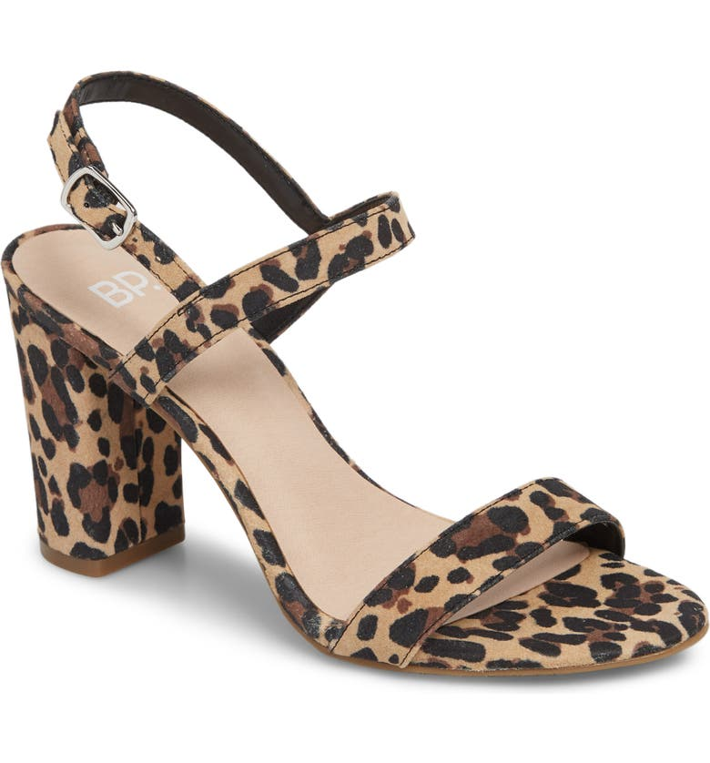 BP. Lula Block Heel Slingback Sandal, Main, color, LEOPARD PRINT LEATHER