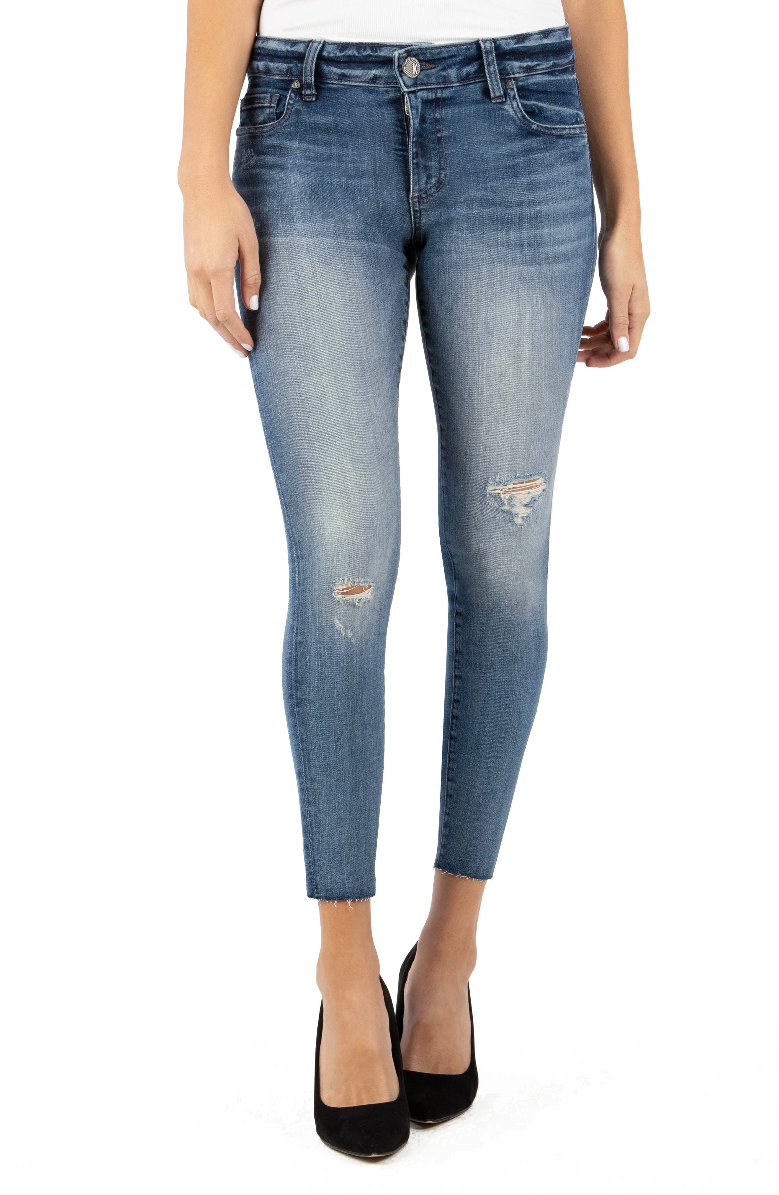 Kut From The Kloth Connie Ripped High Waist Ankle Skinny Jeans In Family