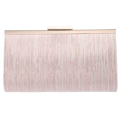 Nina Metallic Pattern Frame Clutch - Pink