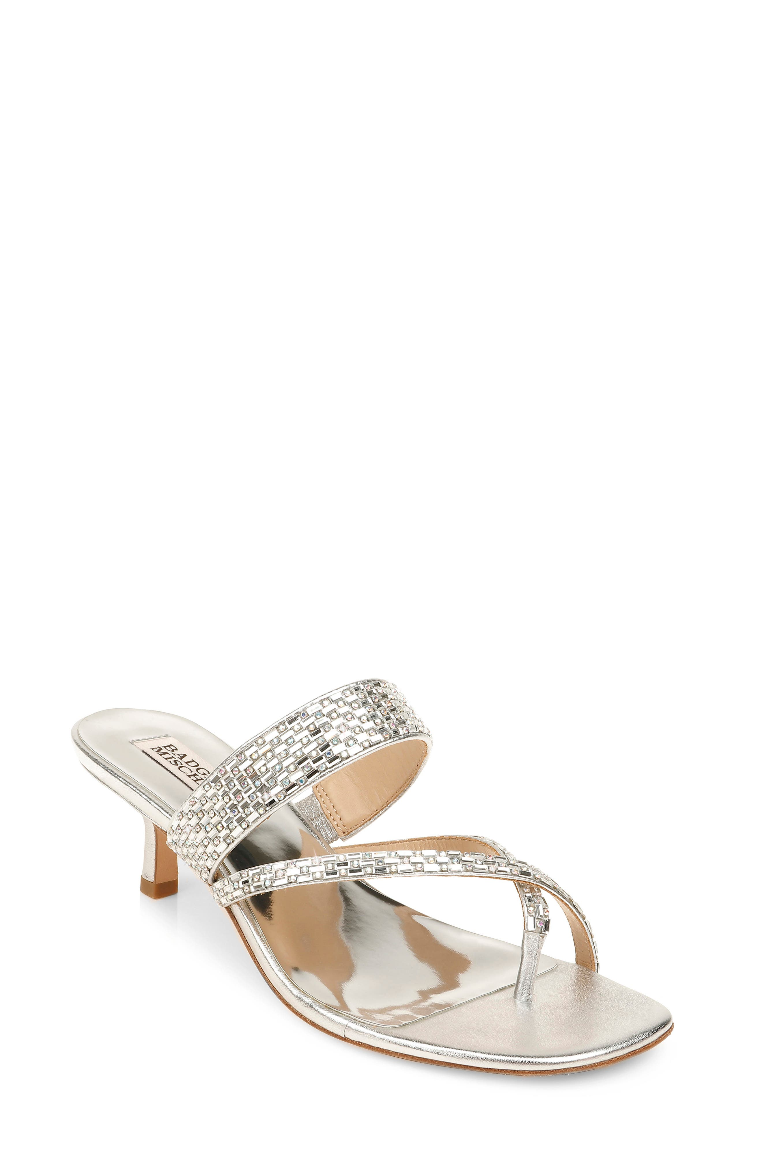 Sparkling crystals dazzle the straps of an asymmetrical sandal lifted by a tapered kitten heel. Style Name: Badgley Mischka Zena Embellished Slide Sandal (Women). Style Number: 6020304 1. Available in stores.