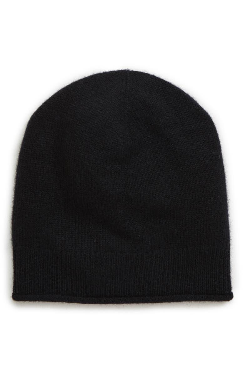 HALOGEN<SUP>®</SUP> Everyday Cashmere Beanie, Main, color, BLACK