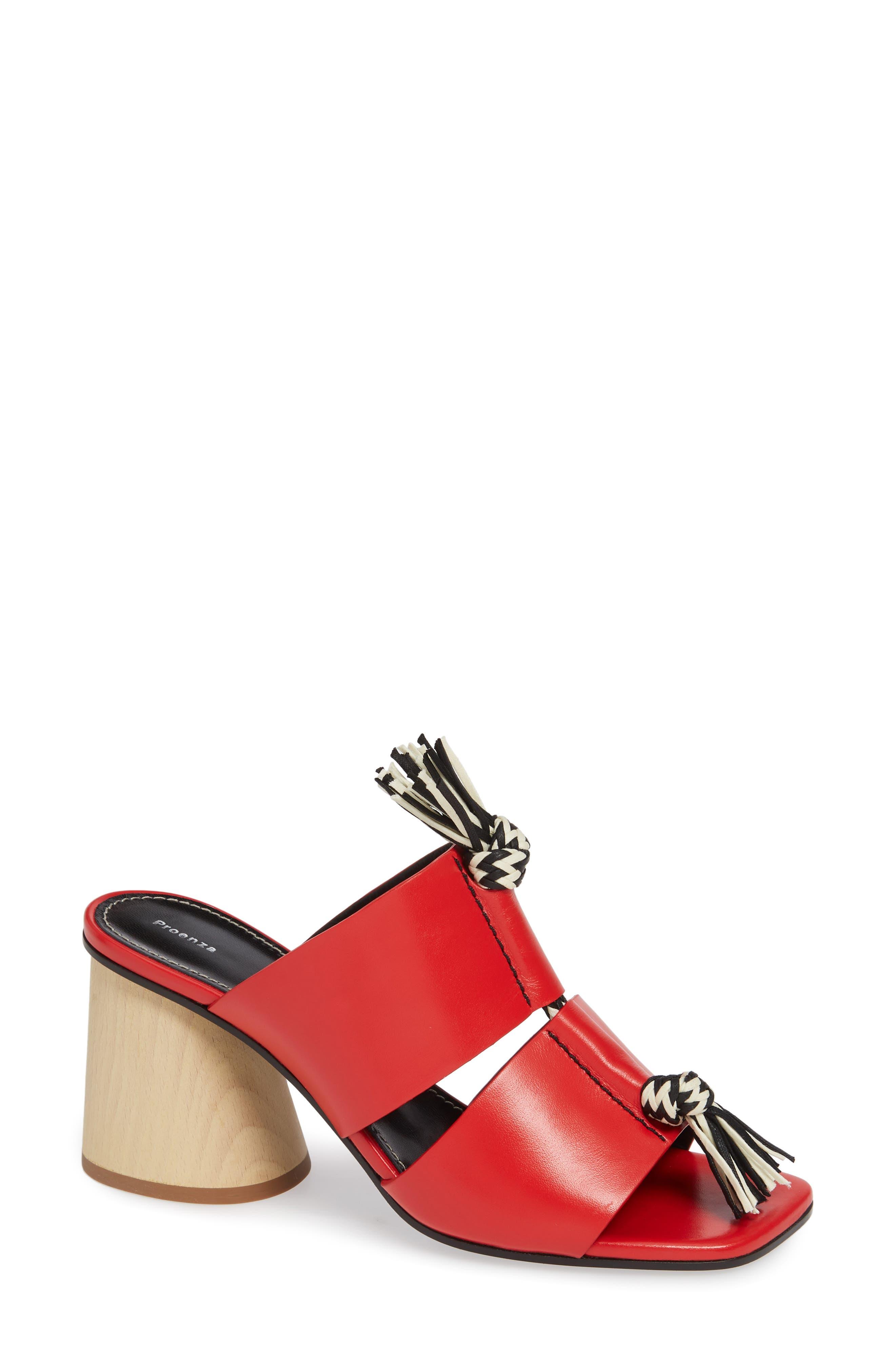 Proenza Schouler Cylinder Heel Slide Sandal, Red