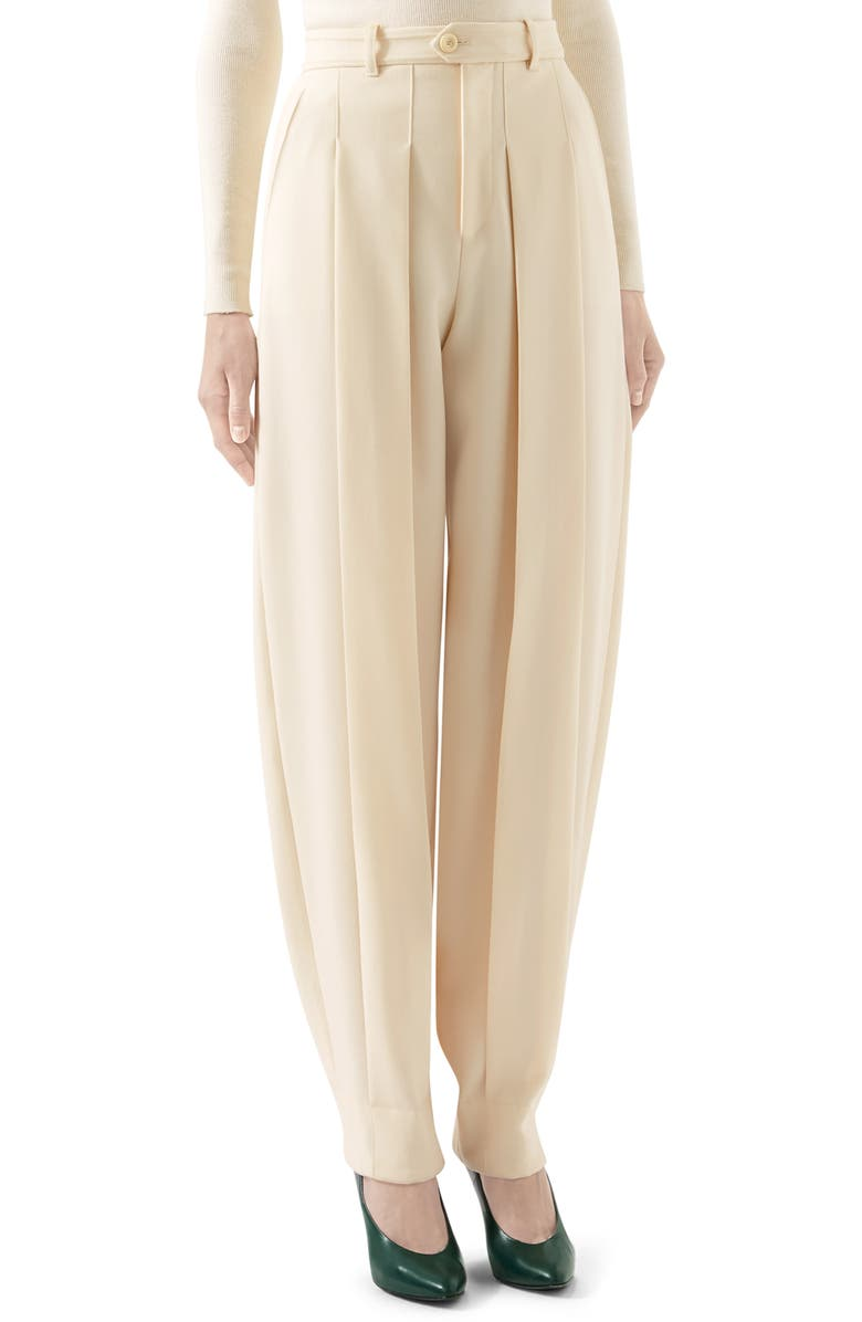 GUCCI Pleated Wool Pants, Main, color, WHITE MAGNOLIA