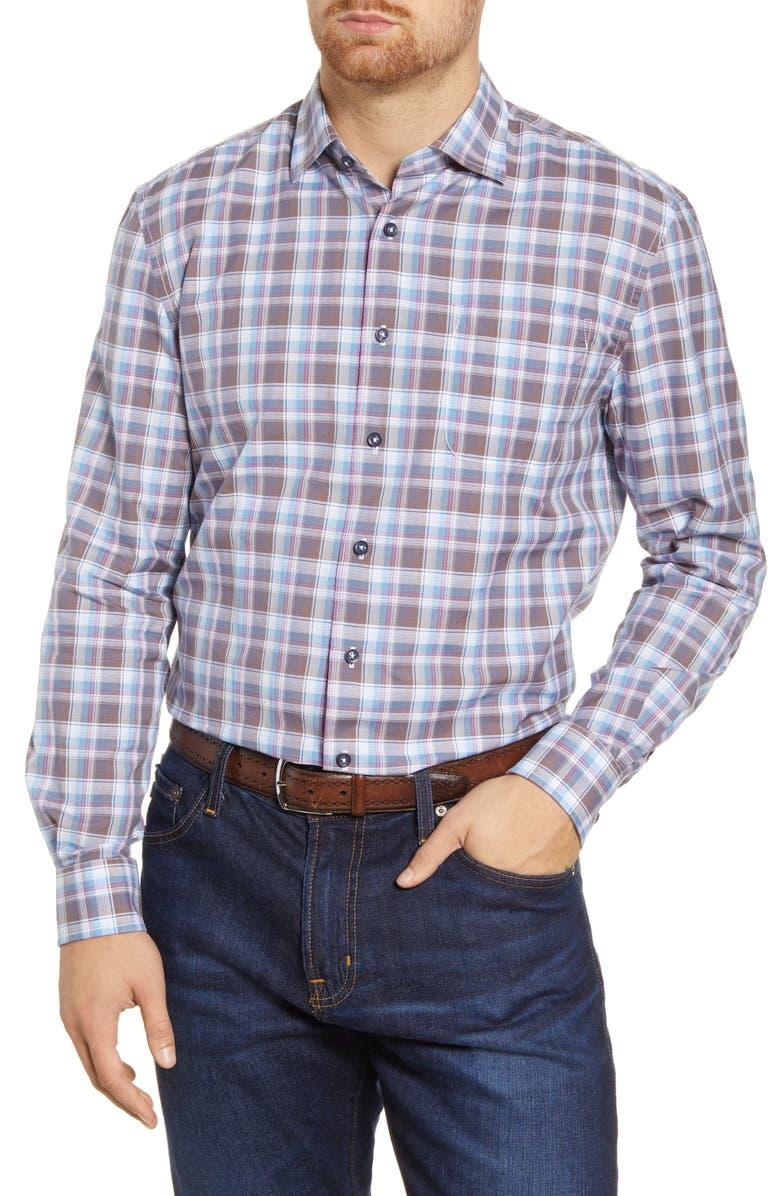 JOHNNIE-O Floyd Classic Fit Plaid Button-Up Shirt, Main, color, TIDE