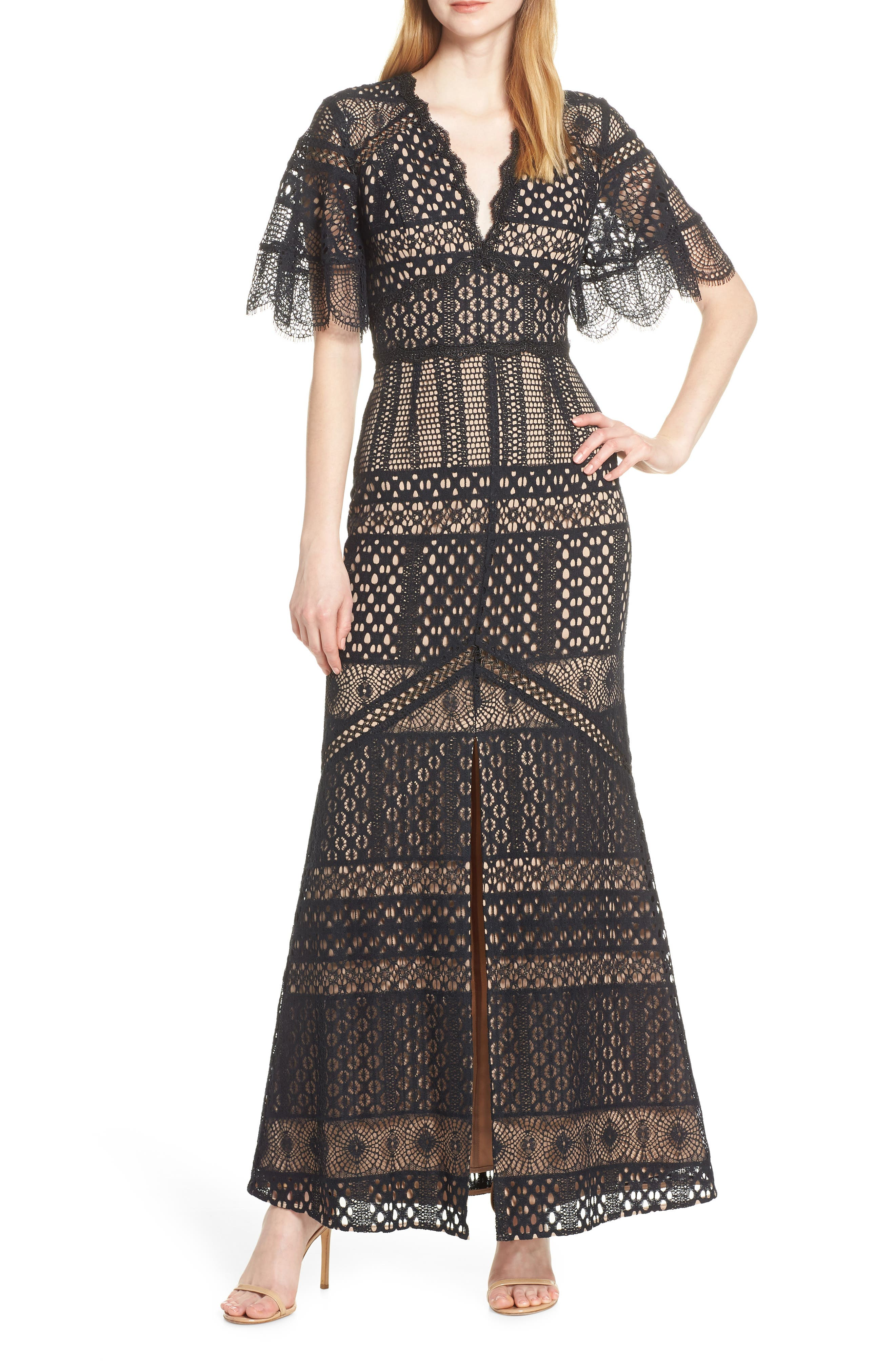 Harlyn Flutter Sleeve Lace Evening Gown, Black