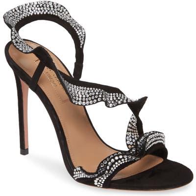 Aquazzura Crystal Ruffle Slingback Sandal, Black