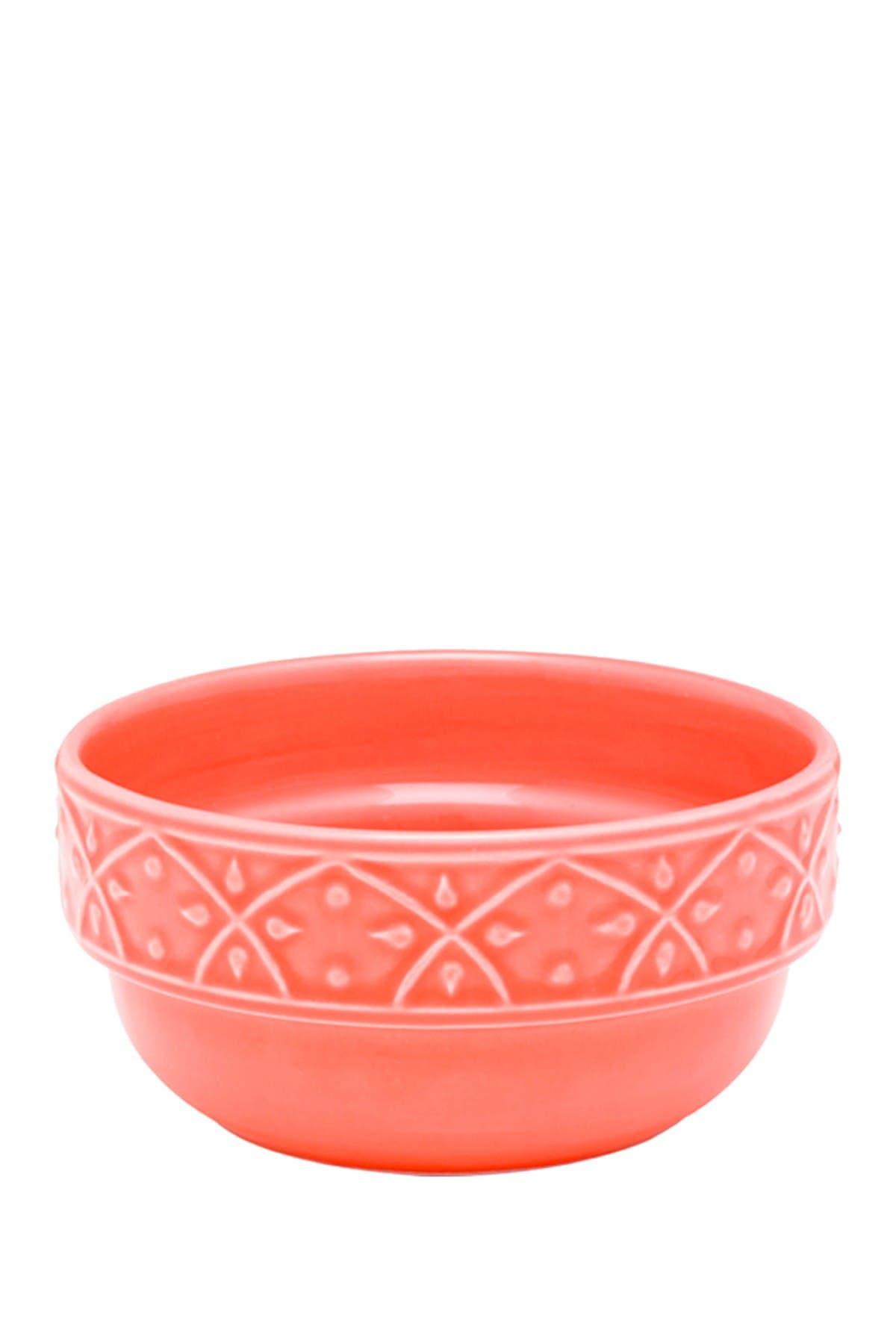 Image of Manhattan Comfort Mendi 6 Large 16.91 oz. Dinner Soup Bowls - Coral