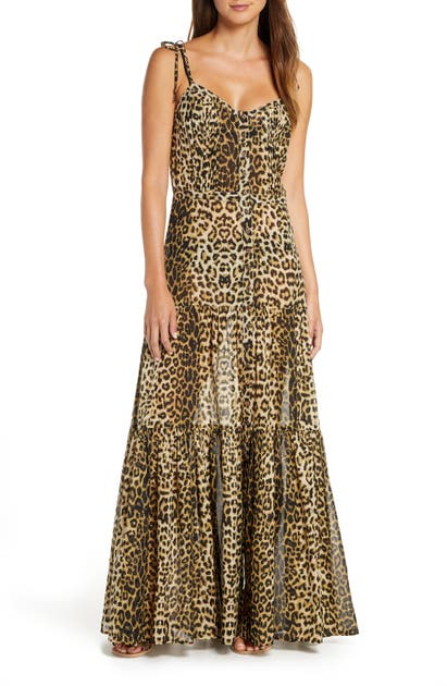 Veronica Beard Dresses WINDANSEA LEOPARD PRINT COVER-UP MAXI DRESS