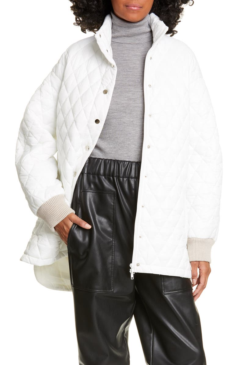 TIBI Quilted Car Coat, Main, color, 100