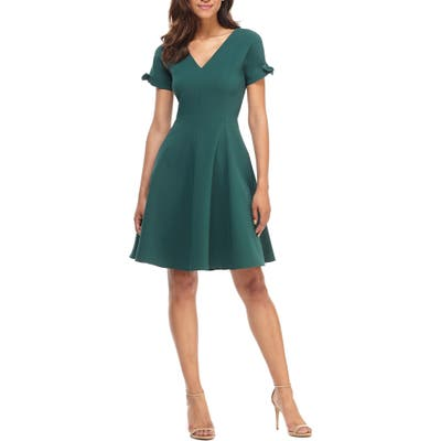 Gal Meets Glam Collection Serena Tie Cuff Fit & Flare Dress, Green