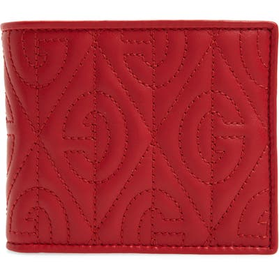 Gucci G Rhombus Quilted Leather Bifold Wallet - Red