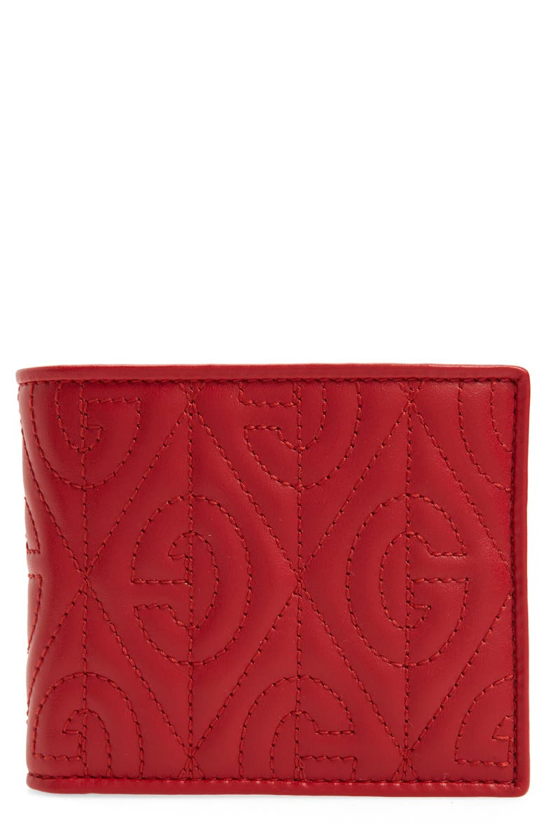 GUCCI G Rhombus Quilted Leather Bifold Wallet, Main, color, 600