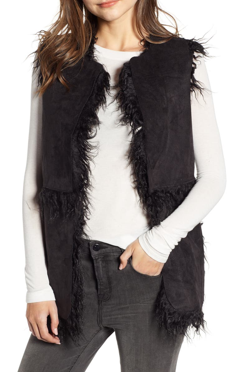 CUPCAKES AND CASHMERE Reversible Faux Shearling Vest, Main, color, BLACK
