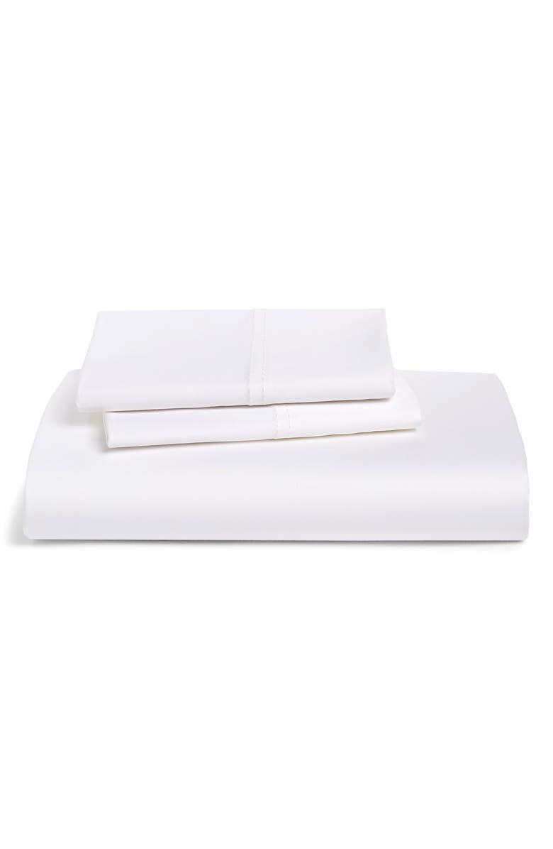 NORDSTROM 500 Thread Count Cotton Fitted Sheet & Pillowcases, Main, color, WHITE
