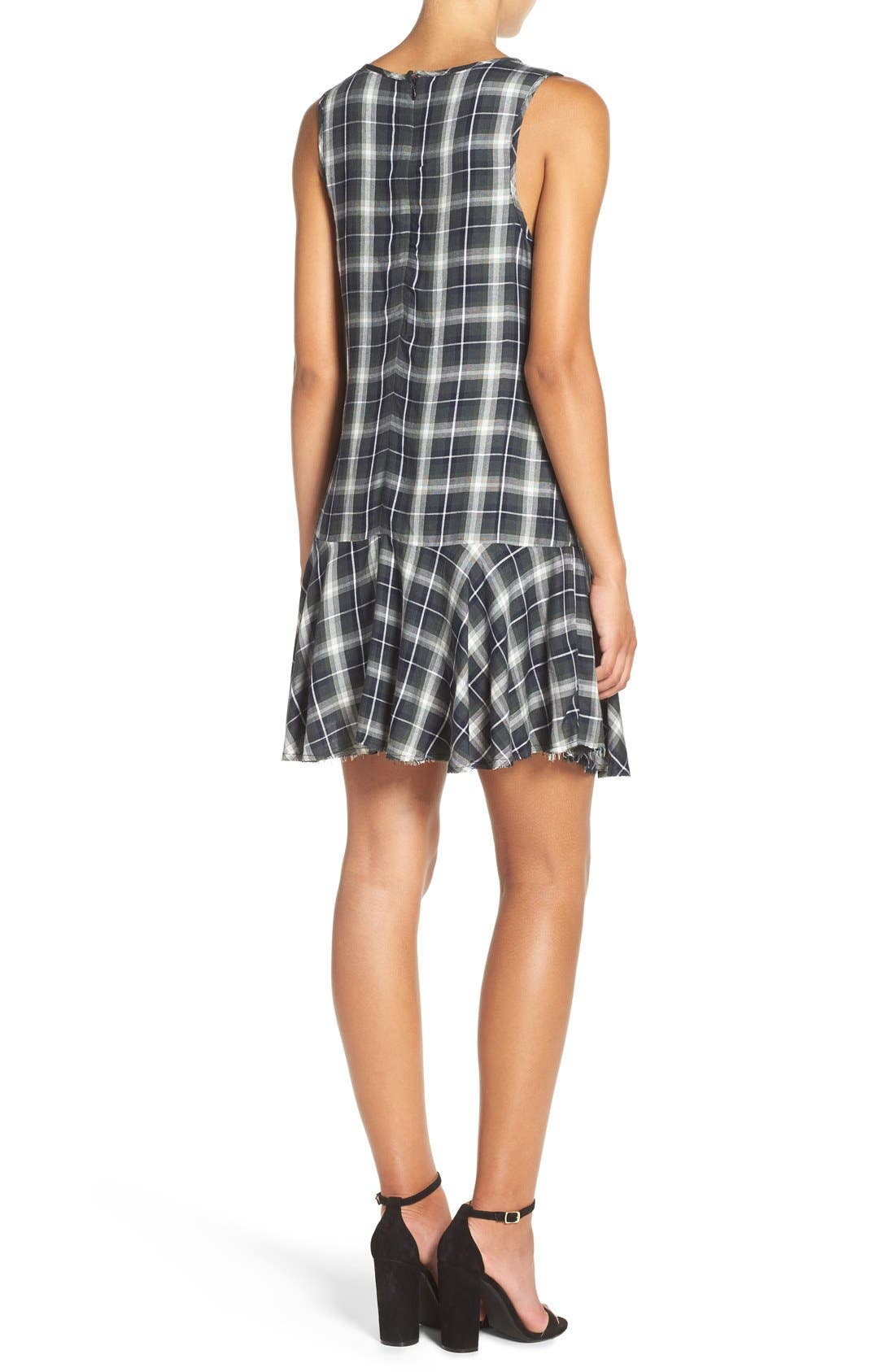 ,                             'Reyes' Plaid Drop Waist Dress,                             Alternate thumbnail 7, color,                             306