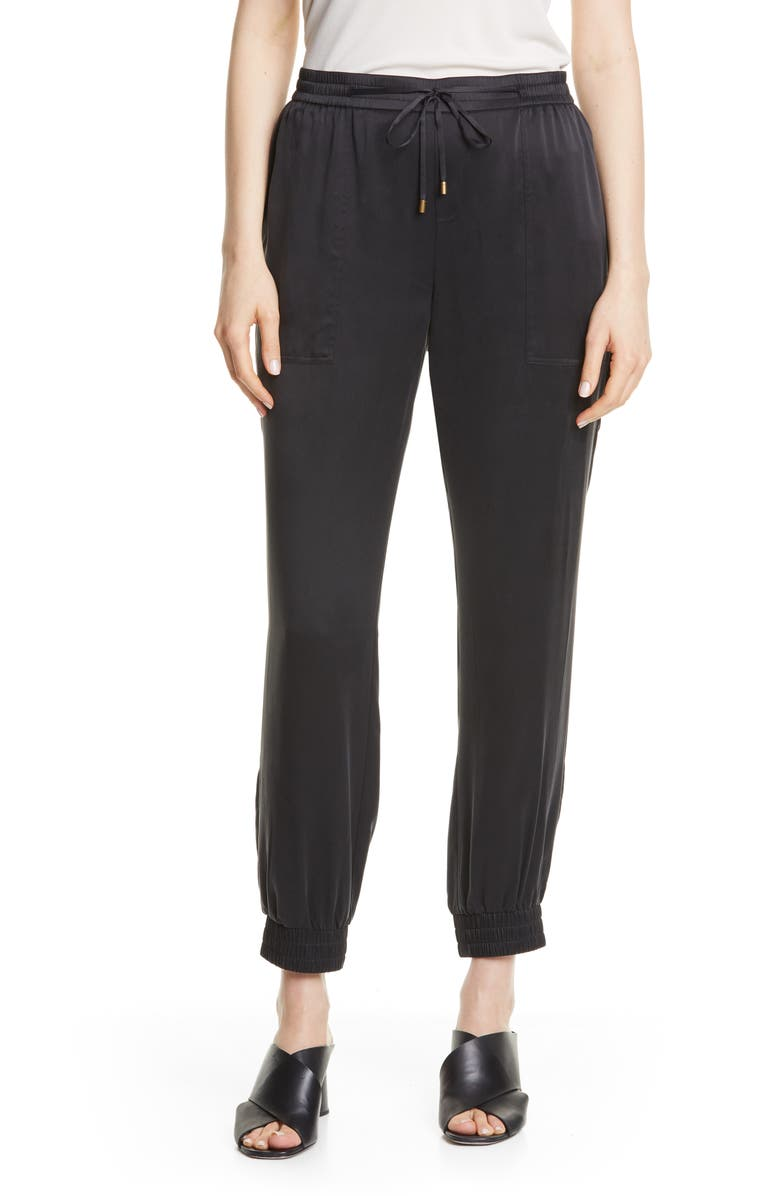 EILEEN FISHER Drawstring Silk Ankle Pants, Main, color, BLACK