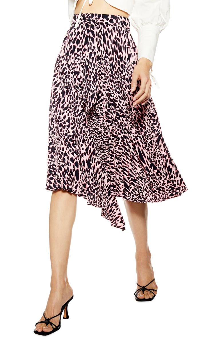 TOPSHOP Taylor Pleat Midi Skirt, Main, color, 650