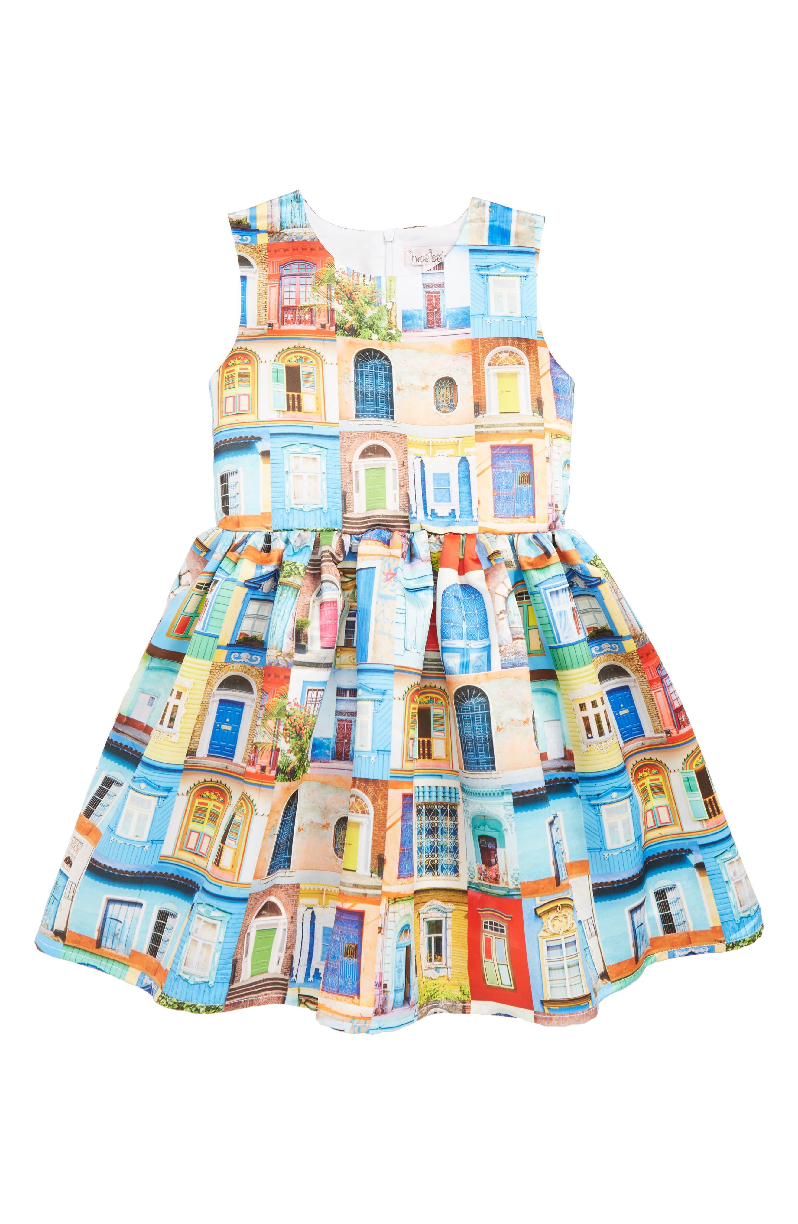 ,                             Doors & Windows Print Dress,                             Main thumbnail 1, color,                             MULTI