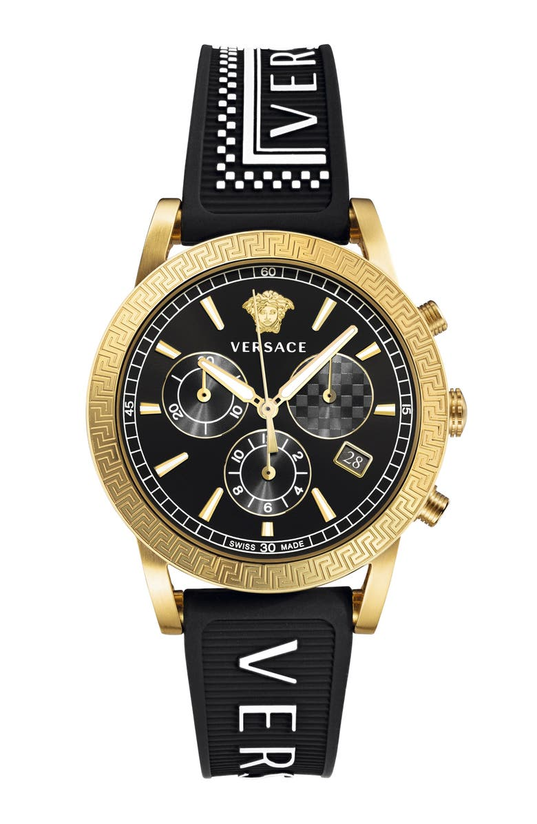 VERSACE Sport Tech Chronograph Rubber Strap Watch, 40mm, Main, color, BLACK/ GOLD