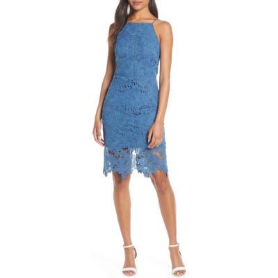 Adelyn Rae Farrah Halter Neck Lace Cocktail Dress, Blue
