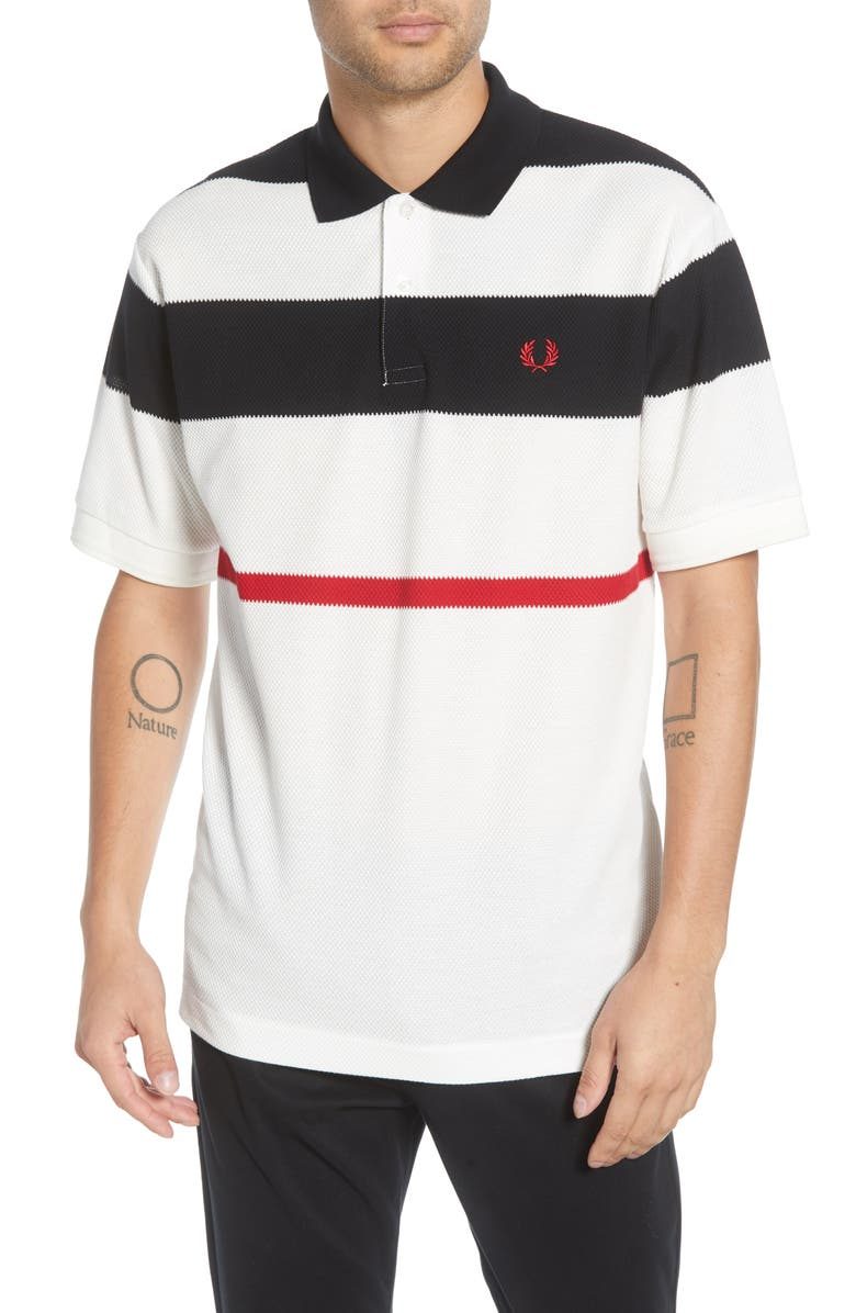 FRED PERRY Oversize Stripe Piqué Polo, Main, color, SNOW WHITE