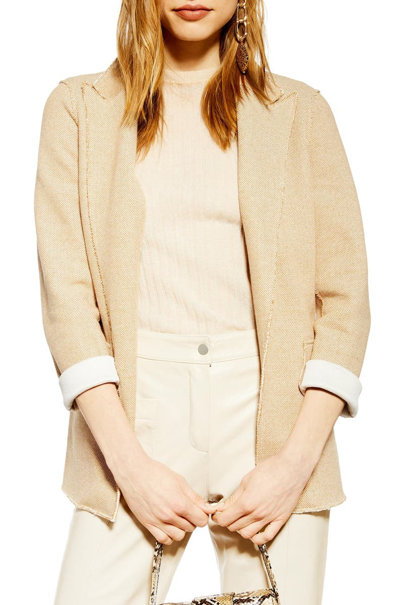 TOPSHOP Raw Edge Boyfriend Jacket, Main, color, TAN MULTI