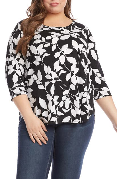 Karen Kane LEAF SHADOWS SHIRTTAIL TOP