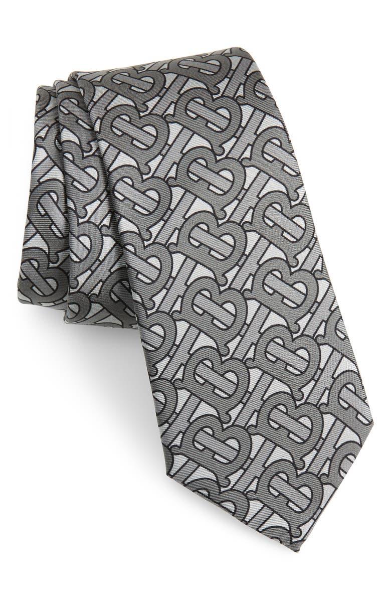 BURBERRY Manston Silk Tie, Main, color, MEDIUM GREY
