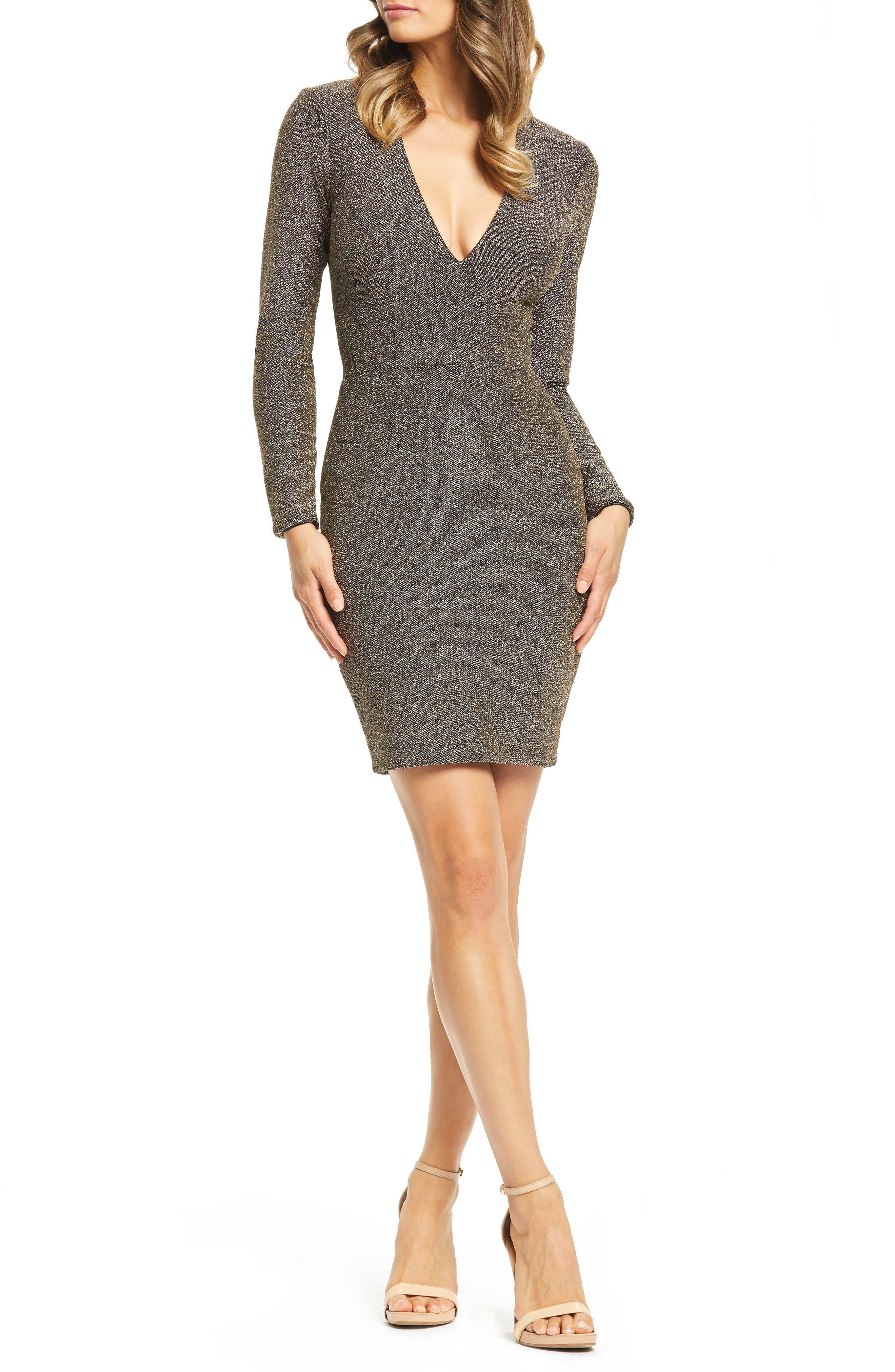 Riley Plunge Neck Metallic Sheath Dress, Main, color, 001