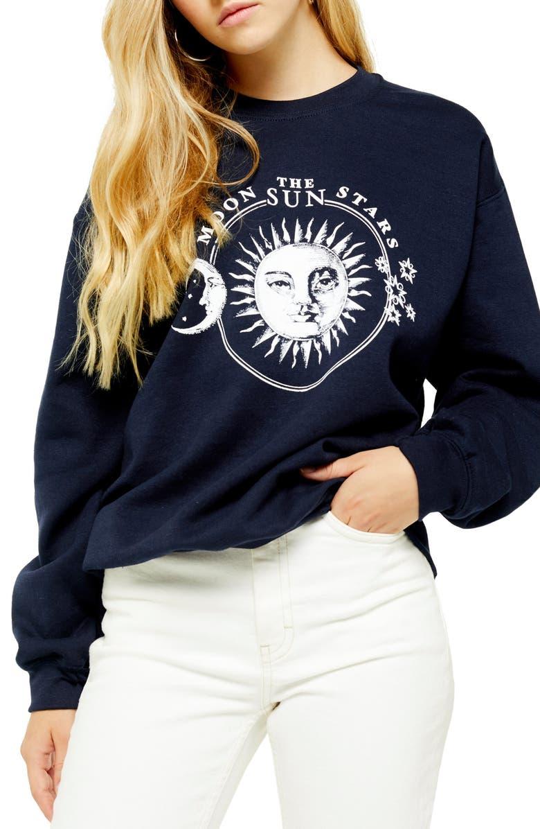 TOPSHOP Moon & Stars Graphic Sweatshirt, Main, color, NAVY BLUE