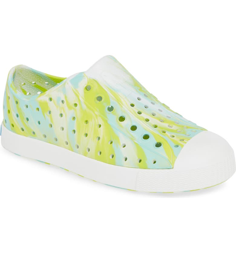 NATIVE SHOES Jefferson - Marbled Perforated Slip-On, Main, color, GLOW GREEN/ WHITE/ MARBLE